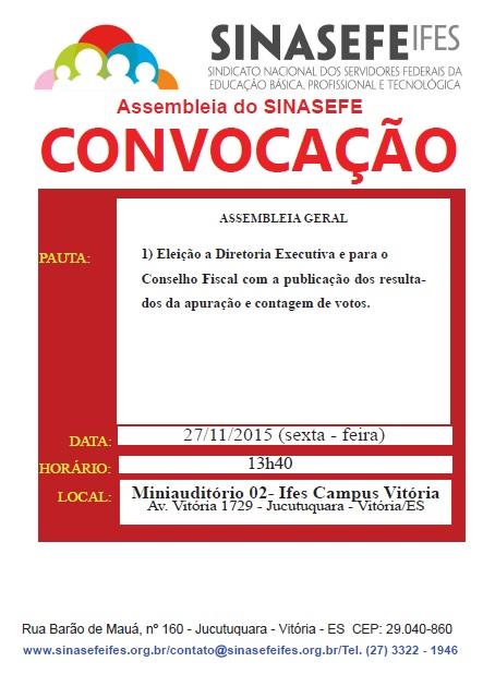 Convocação para assembleia 27-11-15