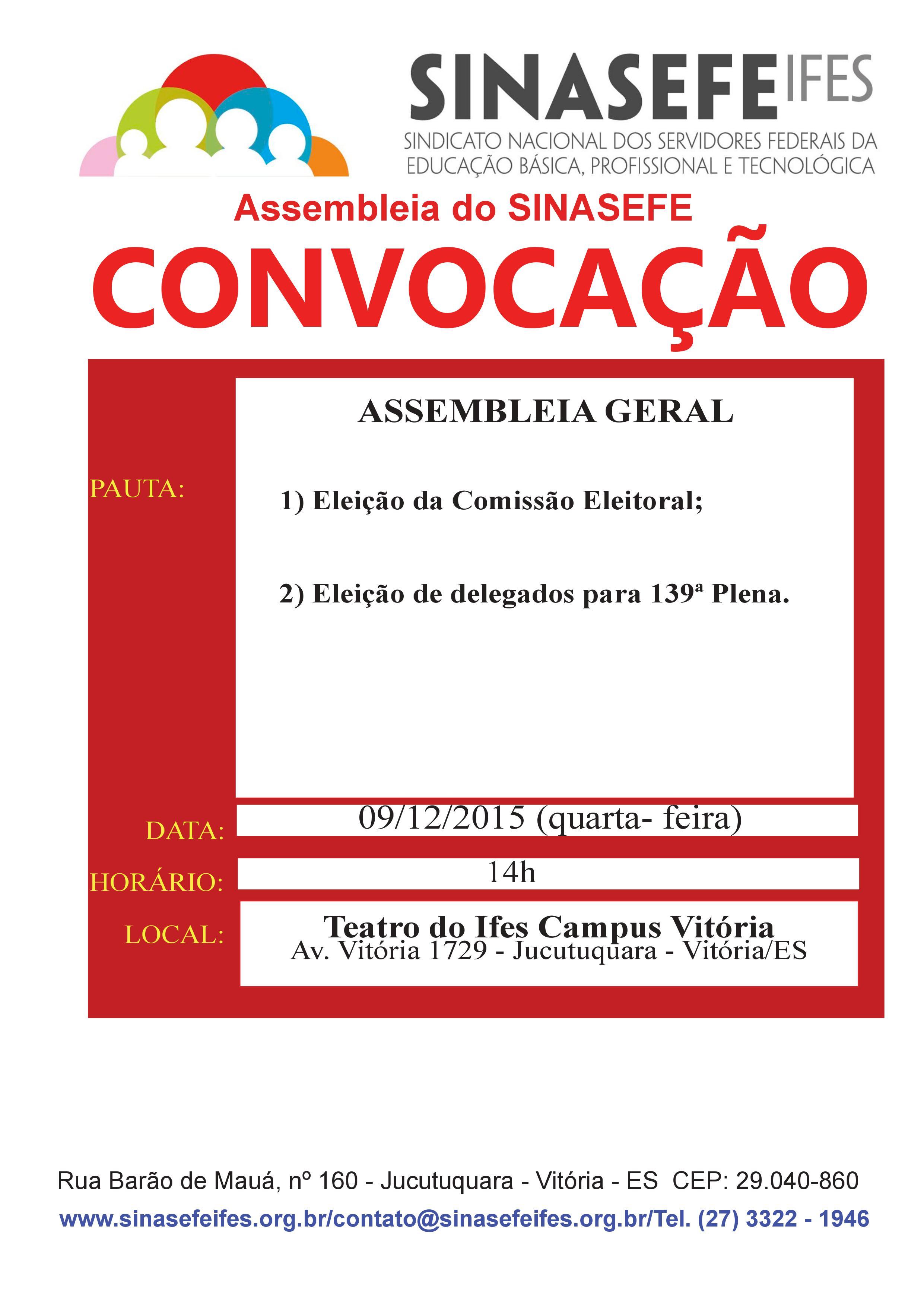 Convocação para assembleia Geral 09.12.2015