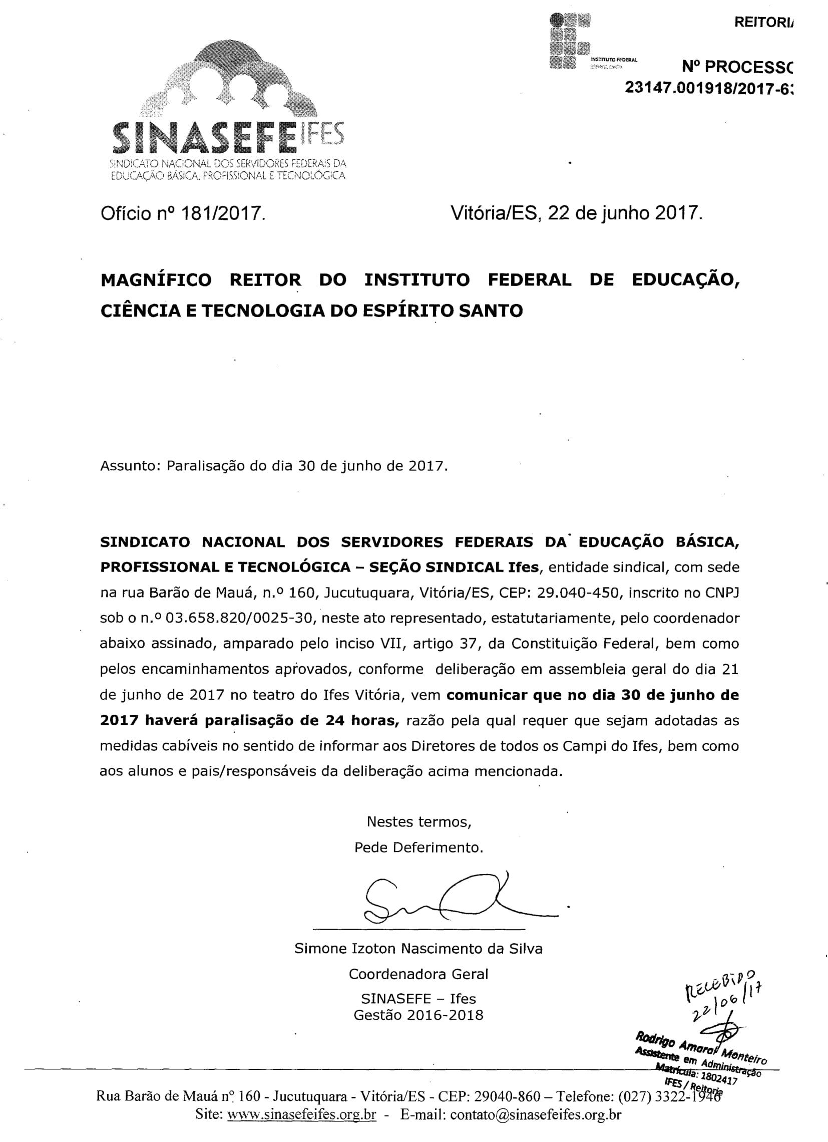 Ofício de greve protocolado Ifes-1