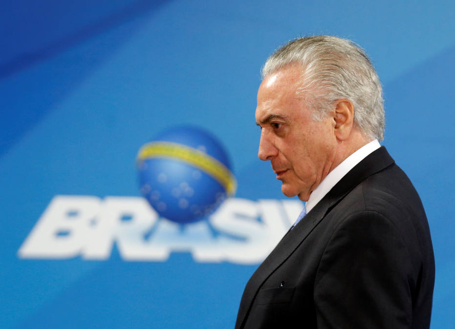 Brazil's President Michel Temer attends the Petrobras 2018-2022 Business and Management Plan disclosure ceremony at the Planalto Palace in Brasilia